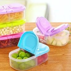 雙開雜糧收納盒 雙格雙蓋儲物盒 五穀 密封 食品 零食 蔬果 保鮮 多功能