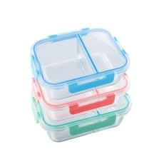 【美國 Winox】安玻分隔玻璃保鮮盒長形2格1000ML(3色可選)