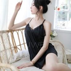 【緁希情趣】熟女韻味.緞面吊帶蕾絲情趣睡衣(黑)