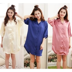 Pink Lady性感男朋友襯衫連身絲質睡裙005(豆沙/粉/白/米黃/寶藍)