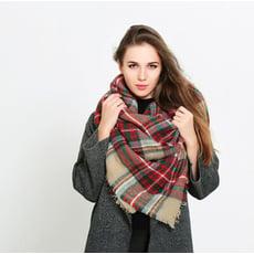 蘇格蘭格紋風兩用圍巾 仿羊絨流蘇保暖披肩