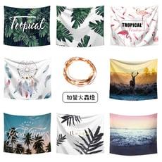 【飛呀生活】買就送燈 北歐風掛布掛毯掛畫 寬100*高70 居家裝飾