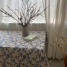 【現貨】韓系復古碎花桌布 藍色小碎花桌布 韓風桌布 質感棉麻桌布