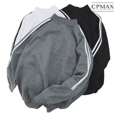 CPMAX 超保暖高領條紋大學T 加絨保暖舒適 大學T 長袖T恤 男T恤 高領T恤T126