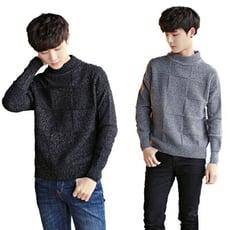 CPMAX 針織高領毛衣 素色方格紋毛衣 高領毛衣 針織衫 高領針織 C54