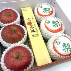 【羅溫鮮果】健康滿分(日本蜜富士蘋果3顆裝+廣誠玄米大吟釀1瓶+韓國梨3顆)