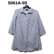 【非常衣著 香緹 chante'】藍白夕條紋七分袖長版修身襯衫