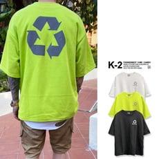 【K-2】韓國 反光 環保 LOGO 前後反光 落肩 五分袖 太空棉 短T 上衣【KS54】