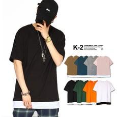 假兩件落肩短T 寬版 拼接 超帥 穿搭必備 【K-2】落肩 素T 假兩件 T恤 背心【K40】