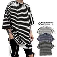 【K-2 】韓國 條紋T 五分袖 條紋 細條紋 短T 開岔 上衣 短袖 百搭 歐巴【K3342】