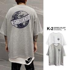 【K-2】韓國 NEIGHBOURHOOD 地球 落肩 寬鬆 五分袖 太空棉 短T 上衣【K220】