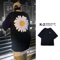 【K-2】最強潮流 刺繡 雛菊 小花 五分袖 短T 小雛菊 大印花 寬鬆 落肩 【KT3275】