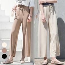 【004】高腰顯瘦綁帶涼感冰絲針織闊腿褲 寬褲 休閒褲(3色可選/M-L)