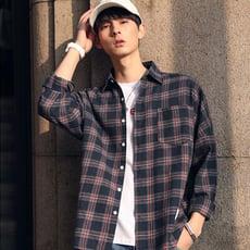 【F261】春季新款寬鬆格子格紋棉長袖襯衫 上衣 罩衫(M-XL)