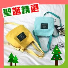 【聖誕精選】糖果色迷你帆布水桶包 單肩背包休閒學生水桶小包(共11色)