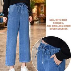 【1926】夏季鬆緊腰九分牛仔褲 闊腿褲 休閒褲 寬褲(2色可選M-XL)