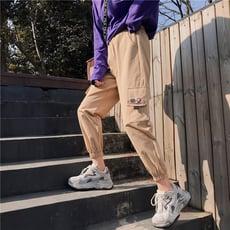 【1902】春夏季BF風寬鬆顯瘦高腰束腳工裝褲 嘻哈休閒褲(3色可選/M-XL)