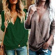 【G011】歐美熱銷大V領寬鬆針織上衣 毛衣 T恤(多色可選/S-L)