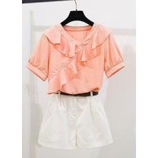 韓版雪紡V領荷葉邊襯衫+短褲套裝