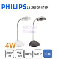 【永光】PHILIPS 飛利浦 LED 4.6W 白光檯燈  66027酷樂 護眼檯燈 深灰色/白色