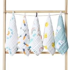 【STAR BABY】童趣圖案純綿柔軟嬰幼兒水洗六層紗 布方巾 超值六件組