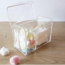 【目喜生活 】防塵翻蓋化妝棉花棒收納盒