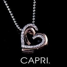 『CAPRI』精鍍白K金 玫瑰金 鑲CZ鑽 愛心項鍊 《限量一個》