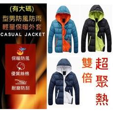 型男防風防雨輕量羽絨棉保暖外套(有大碼)