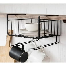 櫥櫃隔板置物架 隔板掛籃 金屬收納掛架 廚房衣櫃辦公桌下掛架
