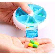 按鈕七格旋轉藥盒 日本創意小藥盒一周分裝旋轉7格分藥盒 隨身收納迷你藥品盒 藥品收納便