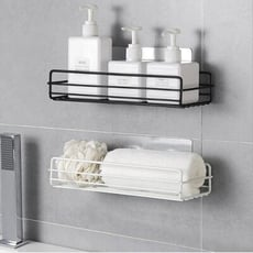 日式鐵藝浴室置物架 無痕置物架 壁掛沐浴露收納架 衛生間免打孔洗漱用品架