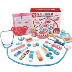木製仿真醫生玩具 仿真牙醫看診 木製牙齒模型 木製醫生玩具套裝 兒童小醫生扮演玩具 小護士醫護箱玩具