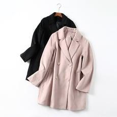 氣質西裝領雙排扣開身中長款毛呢大衣外套女1入