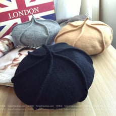 韓國新款羊毛南瓜帽英倫復古貝雷帽 純色八角帽畫家帽 秋冬帽子1入