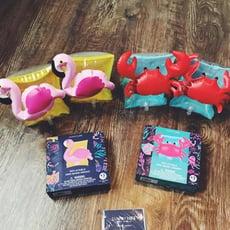 寶寶火烈鳥螃蟹兒童游泳手臂圈寶寶輔助游泳圈可愛充氣浮力水袖1入
