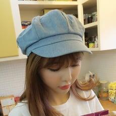 韓國復古牛仔八角帽英倫貝雷帽子女春夏韓版報童畫家帽防曬遮陽帽1入