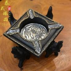 泰國原產 東南亞進口家居裝飾品 異國風情實木錫片四象煙灰缸無蓋1入