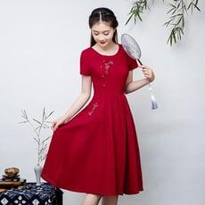 春夏季新款民族風女裝復古風繡花棉麻中長款修身短袖連衣裙女裝1入