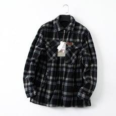 1014-29 有大碼!秋冬季男士加絨加厚保暖格紋搖粒絨襯衫外套1入