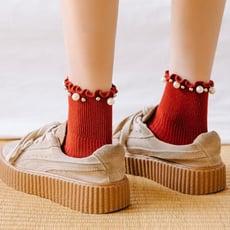 日系木耳邊花邊襪子女珍珠鉚釘中筒襪韓國ins潮甜美純棉百搭靴襪1入