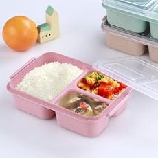 環保小麥秸稈便當盒 微波飯盒 學生餐盒成人飯盒 三格保鮮盒1入
