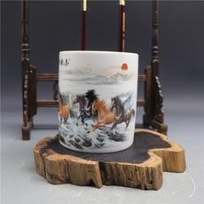 景德鎮陶瓷筆筒馬到成功圖案筆插書房客廳擺設收納1入