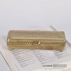 純銅雕花復古首飾收納盒 樣板間書房桌面長方形收納筆盒1入