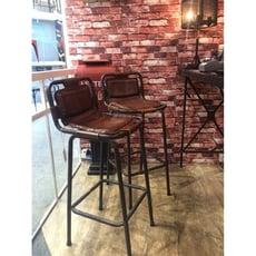 印度進口 手工天然牛皮吧臺椅 酒吧椅 餐廳酒吧專用 懷舊風格1入