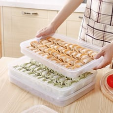 家用多層不分格速凍餃子盒冰箱收納盒保鮮冷凍無格裝餛飩水餃盒子1入