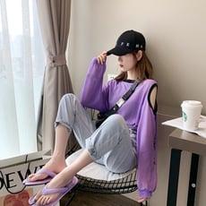 戚米網紅薄款長袖露肩t恤防曬衣女ins超火百搭紫色上衣韓版潮 -