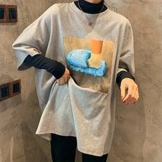 2020春季簡約印花五分袖T恤寬松中長款內搭打底衫上衣女1入