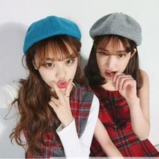 韓國女秋冬復古英倫毛呢報童畫家帽韓版蓓蕾貝雷帽南瓜八角帽子潮1入