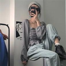 2020春裝設計感小眾襯衫上衣女復古港味寬松短款長袖襯衣1入