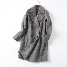 大氣時尚的西裝式大翻領雙排扣開身中長款毛呢大衣外套女1入